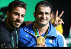 Rio 2016 - Weightlifting - Sohrab Moradi (Gold medal in 94kg) with Kianoush Rostami (Gold medal in 85kg) - Olympic Games in Rio de Janeiro, Brazil - Foto M. Hassanzadeh (TNA)