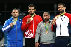 Rio 2016 - Wrestling - Freestyle 125kg - Gold Akgul (Turkey), Silver Ghasemi (Iran), Bronze Saidau (Belarus) and Petriashvili (Georgia) - Olympic Games in Rio, Brazil - Parsaei (YJC)