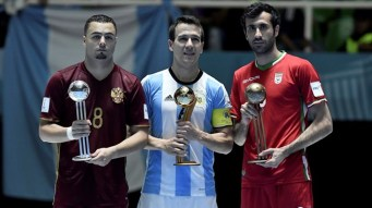 Best players at the FIFA Futsal World Cup 2016 in Colombia - Golden Ball winner Fernando Wilhelm of Argentina (C), Silver Ball winner Eder Lima of Russia (L) and Bronze Ball winner Ahmad Esmaeilpour of Iran (R) - (Photo by Gabriel Aponte - FIFA via Getty)