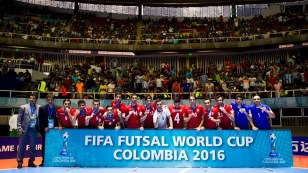 Iran players pose with their bronze medals at the FIFA Futsal World Cup 2016 in Colombia - (Photo by Jan Kruger - FIFA via Getty)