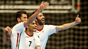 Ali Hassan Zadeh of Iran (C) celebrates his goal with team mates during the semi-final match between Iran and Russia at the FIFA Futsal World Cup in Colombia. (Photo by Jan Kruger - FIFA via Getty Images)