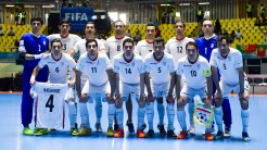 Players of Iran pose for a team photo before the bronze medal match - Iran vs. Portugal at the FIFA Futsal World Cup 2016 in Colombia (Photo by Alex Caparros - FIFA via Getty Images)