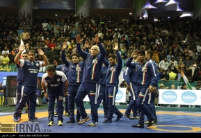 2017 Freestyle World Cup - Iranian wrestling team celebrating their gold medal (Photo credit IRNA)