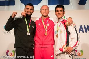 2017 X World Games in Poland. Medalists in Kickboxing (Men's K1 86kg): Polish Dawid Kasperski (gold), Bosnian Herzegovinian Mesud Selimovic (silver) and Iranian Omid Nosrati (bronze). Photo credit BTWphotographers Maziarz/Rajter