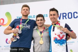 2017 X World Games in Poland. Medalists in Sport Climbing (Men's Speed): Iranian Reza Alipourshenazandifar (gold), Ukrainian Danyil Boldyrev (silver) and Russian Stanislav Kokorin (bronze). Photo credit Eddie Fowke, IFSC