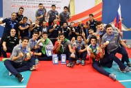 Iranian team posing with their medals. Photo source fivb.com