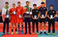 Amir Hossein Toukhteh (best middle blocker, Iran), Pavel Tetyukhin (best outside spiker, Russia), Artem Melnikov (best middle blocker, Russia), Amirhosseini Esfandiar (MVP and best outside spiker, Iran), Shunsuke Nakamura (best setter, Japan), Im Donghyeok (best opposite spiker, Korea) and Kenta Ichikawa (best libero, Japan). Photo source fivb.com