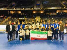 Iranian team holding their bronze medals at the 2018 Men's Indoor Hockey World Cup in Berlin, Germany. Photo source: asiahockey.org