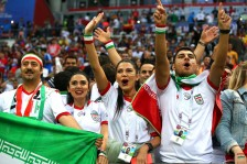 Iranian fans in Kazan Arena, Russia supporting their team during Iran vs Spain (photo Alex Livesey, Getty Images Europe)