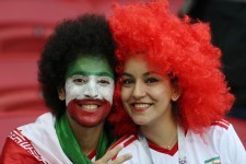 Iranian fans in Kazan Arena, Russia supporting their team during Iran vs Spain (photo Richard Heathcote, Getty Images Europe)