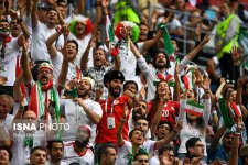 Iranian fans in St. Petersburg Stadium, Russia supporting their team during Morocco vs Iran (photo Borna Ghasemi, ISNA)
