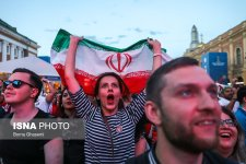 Iranian fans watching Morocco vs. Iran in St. Petersburg, Russia (photo Borna Ghasemi, ISNA)