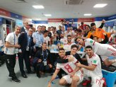 Iranian players celebrating their victory in the locker room after their match against Morocco in St. Petersburg Stadium, Russia (photo credit FIFAWorldCupIRN, twitter.com)
