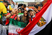 Iranian, Egyptian, Brazilian and Spanish fans supporting their teams in St. Petersburg, Russia on the eve of the tournament (photo Mona Hoobehfekr, ISNA)
