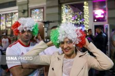 Iranian fans supporting their team in St. Petersburg, Russia on the eve of the tournament (photo Borna Ghasemi, ISNA)
