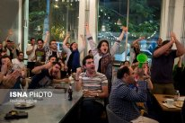 Iranian fans watching the match in a restaurant, Tehran. Photo credit: Rouhollah Vahdati, ISNA.