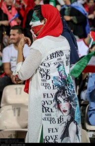 Iranian fan during half time in Azadi Stadium, Tehran. Photo credit: IRNA.
