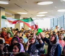 Iranian fans waiting for the match to start in Charsou Cineplex, Tehran. Photo credit: Nasim Aghaei, Young Journalists Club.
